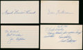 Football Collectibles:Others, Football Hall of Famers Signed Index Cards/Government Postcards Lot of 4....
