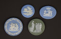 Ceramics & Porcelain, British:Antique  (Pre 1900), A GROUP OF FOUR ENGLISH JASPERWARE MEDALLIONS, ONE CASED . Designed by William Hackwood for Wedgwood, Burslem (Stoke-on-Tren... (Total: 5 Items)