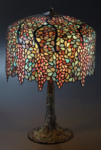 AN AMERICAN PATINATED METAL AND LEADED GLASS LAMP Handel Lamp Company, New York, New York, circa 1920 Marks: <