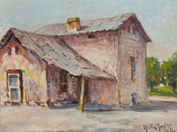 ROLLA SIMS TAYLOR (American, 1872-1970) Country Home Oil on board 9 x 12 inches (22.9 x 30.5 cm)<