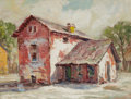 Paintings, ROLLA SIMS TAYLOR (American, 1872-1970). The Old Gilbeau Slave Quarters. Oil on board. 9 x 12 inches (22.9 x 30.5 cm). ...