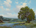 Texas:Early Texas Art - Regionalists, WILLIAM A. SLAUGHTER (American, 1923-2003). Bluebonnets,1975. Oil on canvas. 11 x 14 inches (27.9 x 35.6 cm). Signed an...