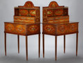 Furniture , A PAIR OF EDWARDIAN PAINTED SATINWOOD BONHEUR DU JOURS . Probably London, England, circa 1910. Marks: lock plate sta... (Total: 2 Items)