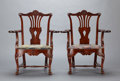 Furniture , A PAIR OF IRISH GEORGE II MAHOGANY ARMCHAIRS . Probably Ireland, circa 1750. Unmarked. 40-1/4 x 33-3/4 x 26-1/2 inches (102.... (Total: 2 Items)