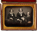 Photography:Daguerreotypes, Half Plate Daguerreotype: Mother and Two Daughters, Circa 1853....