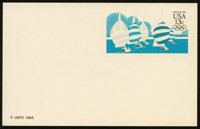 13¢ Olympic Yachting, Yellow & Red Omitted (UX100a)