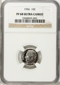 Proof Roosevelt Dimes: , 1956 10C PR68 Ultra Cameo NGC. NGC Census: (29/13). PCGS Population(20/1). Numismedia Wsl. Price for problem free NGC/PCG...