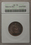 Seated Quarters: , 1844-O 25C AU53 ANACS. NGC Census: (1/26). PCGS Population (2/31).Mintage: 740,000. Numismedia Wsl. Price for problem free...