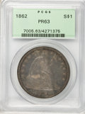 Proof Seated Dollars: , 1862 $1 PR63 PCGS. PCGS Population (49/38). NGC Census: (40/73).Mintage: 550. Numismedia Wsl. Price for problem free NGC/P...