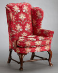 Furniture , A GEORGE II MAHOGANY WING ARMCHAIR . probably London, England, circa 1750. Unmarked. 45-1/2 x 36 x 30 inches (115.6 x 91.4 x...