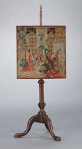 Furniture : English, A GEORGE III-STYLE MAHOGANY AND NEEDLEPOINT POLE SCREEN . England, circa 1860. Unmarked. 48-1/2 inches (123.2 cm). ...