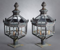 Lighting:Lamps, A PAIR OF PATINATED COPPER LANTERNS . probably American, 20th Century. Unmarked. 41 x 21-3/4 x 21-3/4 inches deep (104.1 x 5... (Total: 2 Items)