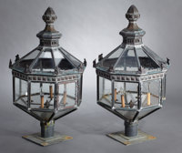 A PAIR OF PATINATED COPPER LANTERNS probably American, 20th Century Unmarked 41 x 21-3/4 x 21-3/4 inches de