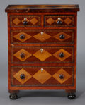 Furniture , AN ANGLO-INDIAN PARQUETRY INLAID CHEST OF DRAWERS . Probably India, circa 1850-1880. Unmarked. 26-1/4 x 20-1/4 x 11-1/4 inch...