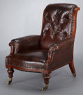 Furniture , A WILLIAM IV BUTTON-BACK LEATHER ARMCHAIR . England, circa 1835. Unmarked. 36-1/2 x 29 x 37 inches (92.7 x 73.7 x 94.0 cm). ...
