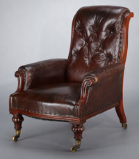 A WILLIAM IV BUTTON-BACK LEATHER ARMCHAIR England, circa 1835 Unmarked 36-1/2 x 29 x 37 inches (92.7 x 73.7