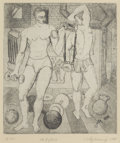 Texas:Early Texas Art - Drawings & Prints, WILLIAM KELLY FEARING (American, b. 1918). The Lifters,1944. Etching on paper. 7 x 6 inches (17.8 x 15.2 cm). Ed. 4/50...
