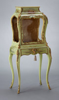 Furniture : French, A FRENCH LOUIS XV-STYLE PAINTED WOOD AND GILT BRONZE VITRINECABINET . Probably Paris, France, circa 1880-1920. Unmarked. 53...(Total: 2 Items)