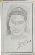 "Baseball Collectibles:Others, Mrs. Lou Gehrig Signed Original Artwork ""Raitt Collection""...."
