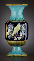 Ceramics & Porcelain, A VICTORIAN MAJOLICA BALUSTER VASE . Staffordshire, England, circa 1875. Marks: Unmarked. 13-1/2 inches high (34.3 cm). ...
