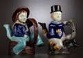 """Ceramics & Porcelain, TWO VICTORIAN MAJOLICA """"THREE-LEGGED SAILOR"""" TEAPOTS . Attributed to William Brownfield & Sons, Cobridge (Stoke-on-Trent), S... (Total: 4 Items)"""