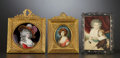 Decorative Arts, Continental:Other , A GROUP OF THREE FRAMED MINIATURE PORTRAITS . Probably French,circa 1880-1900. Marks: see description. 7 x 5-3/4 inches (17...(Total: 3 Items)