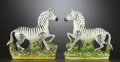 Ceramics & Porcelain, British:Modern  (1900 1949)  , A PAIR OF ENGLISH CERAMIC FIGURAL ZEBRAS . Attributed to Shorter& Son, Stoke-on-Trent, Staffordshire, England, circa 1900. ...(Total: 2 Items)