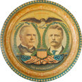 Political:3D & Other Display (1896-present), McKinley & Roosevelt: Colorful Lithographed Tin Tray....