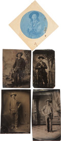 Photography:Tintypes, Cowboys and Western Figures: Four Album Size Tintypes and aCyanotype.... (Total: 5 Items)
