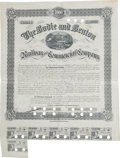 Western Expansion:Goldrush, Rare 1886 Bodie and Benton Railway and Commercial Company BondCertificate....