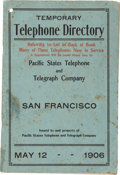 Miscellaneous:Ephemera, 1906 San Francisco Temporary Telephone Directory Issued in the Aftermath of the Earthquake and Fire....