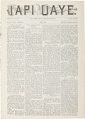 "Western Expansion:Indian Artifacts, 1898 Santee Agency, Nebraska Indian Newspaper ""Iapi Oaye""(Word Carrier)...."