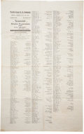 Western Expansion:Goldrush, 1897 Pacific Coast Steam Ship Company Alaska Excursion SouvenirPassenger Manifest Broadside....