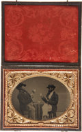 Photography:Tintypes, Exceptional Quarter Plate Tintype: Two Seated Gamblers PlayingCards....