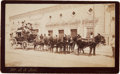 Photography:Cabinet Photos, Mule-Drawn Mud Wagon Stagecoach with Armed Guards, Chihuahua, Mexico, Circa 1890s....