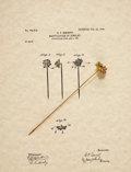 "Western Expansion:Goldrush, Simulated ""Gold Nugget"" Ladies Hat Pin with a Copy of the Original1904 Patent Paper...."