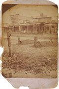 Photography:Cabinet Photos, Cabinet Photograph of Whimsical Tombstones on Main Street, Larned,Kansas 1882....