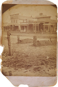Cabinet Photograph of Whimsical Tombstones on Main Street, Larned, Kansas 1882