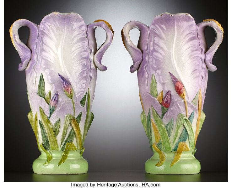 A Pair Of French Majolica Mantle Vases Vallauris France Lot