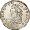 Bust Half Dollars, 1827 50C Square Base 2 MS65 NGC....