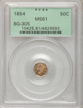 California Fractional Gold: , 1854 50C Liberty Octagonal 50 Cents, BG-305, Low R.4, MS61 PCGS.PCGS Population (8/70). NGC Census: (1/19). (#10425)...