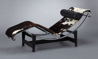 A FRENCH STEEL, CHROME AND PONY SKIN CHAISE LONGUE Designed by Le Corbusier, Charlotte Perriand and Pierre Jeanne