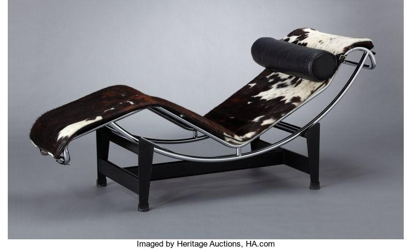 Designed Furniture French A FRENCH STEEL CHROME AND PONY SKIN CHAISE LONGUE