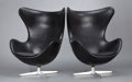 Furniture : Continental, A PAIR OF DANISH LEATHER CHAIRS . Arne Jacobsen, Copenhagen,Denmark, designed 1958. Manufactured by Fritz Hansen. Marks: me...(Total: 2 Items)