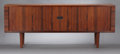 Furniture : Continental, A DANISH ROSEWOOD SIDEBOARD WITH TAMBOUR DOORS . Hans Wegner for RyMobler, Copenhagen, Denmark, circa 1960. Marks: RY MOB...