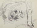 Works on Paper, JOHN BIGGERS (American, 1924-2001). Untitled (Mother and Child), 1960s. Conte crayon and ink on paper. 10 x 13 inches (2...
