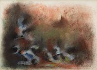 NORMAN WILFRED LEWIS (American, 1909-1979) Untitled (Monkeys), 1958 Pastel on paper 18-1/2 x 25-3