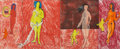 Works on Paper, ROBERT THOMPSON (American, 1937-1966). Untitled (Four Nudes), 1963. Crayon and tempera on paper. 9 x 22 inches (22.9 x 5...