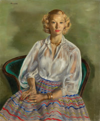 JERRY FARNSWORTH (American, 1895-1983) Portrait of Corrine Oil on canvas 36 x 30 inches (91.4 x 7