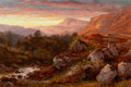 Fine Art - Painting, European:Antique  (Pre 1900), BENJAMIN WILLIAMS LEADER (British, 1831-1923). The Valley of theLleder, North Wales, 1871. Oil on board. 16 x 24 inches...